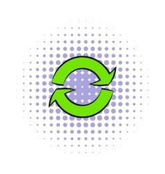 Green circular arrows icon comics style vector image vector image