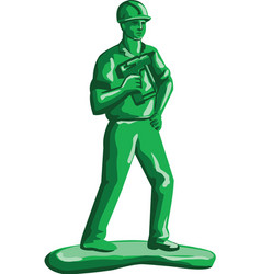 Green Construction Worker Nailgun Retro vector image vector image