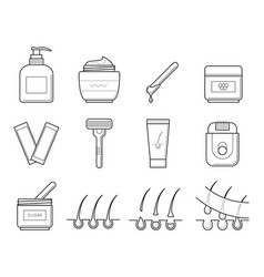 Icons tools for hair removal vector
