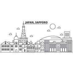 Japan sapporo architecture line skyline vector