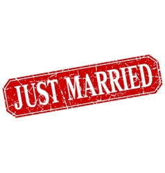 Just married red square vintage grunge isolated vector