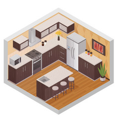 Kitchen modern interior isometric composition vector