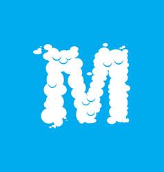 Letter m cloud font symbol white alphabet sign on vector