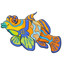 Mandarin fish cartoon character vector