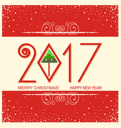 Merry christmas and happy new year card with text vector