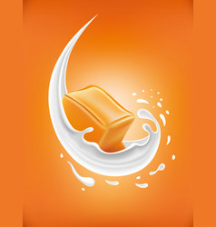 milk splash with caramel candy vector image