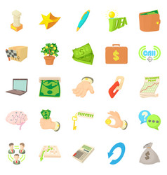 Payment by cash icons set cartoon style vector