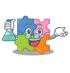 Professor puzzle character cartoon style vector