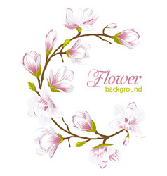 round frame made of beautiful magnolia flowers vector image vector image