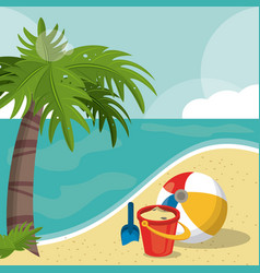 Seaside view on beautiful sunny beach with palm vector