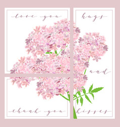 set of cards with words love you and thank you vector image vector image