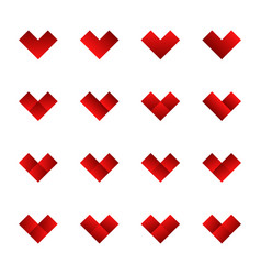 set of cute heart icons vector image vector image