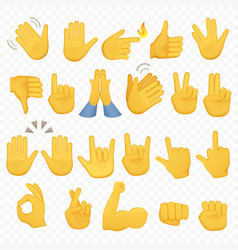 set of hands icons and symbols emoji hand icons vector image