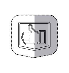 Sticker emblem contour of pixel hand showing vector