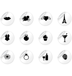Stickers with romantic icons vector image vector image