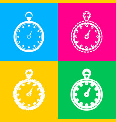stopwatch sign four styles of icon vector image