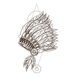 War bonnet native american indian headdress with vector