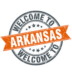 Welcome to arkansas orange round ribbon stamp vector