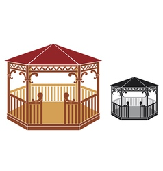 wooden gazebo vector image