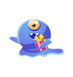 Blue one-eyed toy monster holding a gift vector