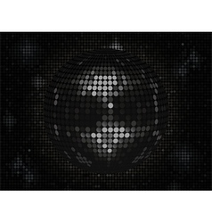 Black disco ball on black mosaic background landsc vector image