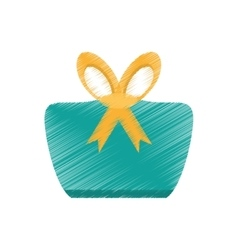 Drawing gift box green dotted yellow bow decorated vector
