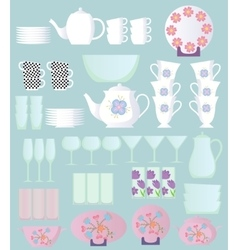 dishes sset cartoon vector image