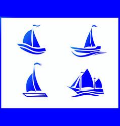 Stock icons boat at sea vector