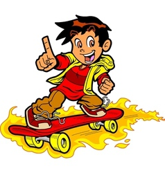 Skateboarder on fire vector