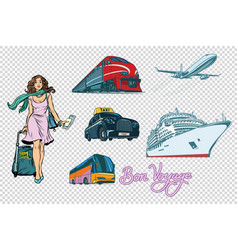 Tourist transport set on isolated background vector