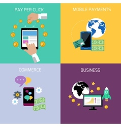 Internet business and payment concept icons vector