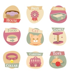 Cat life flat icons vector