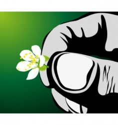 Hand with flower vector