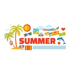Summer - logo word with icons in flat style vector