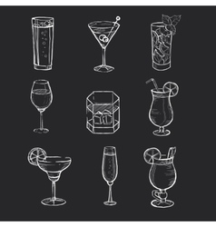 Set of different hand drawn beverages on the vector