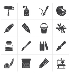 Black painting and art object icons vector