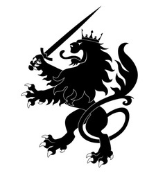 Black heraldic lion with sword vector