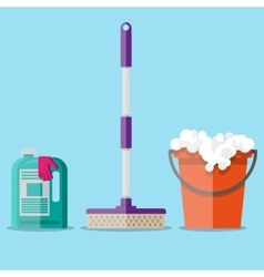 Cleaning set in flat style vector