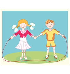 Happy smiling children jumping rope vector