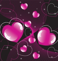 abstract background of shiny hearts vector image vector image