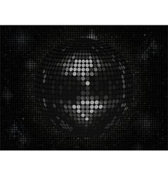 Black disco ball on black mosaic background landsc vector image vector image