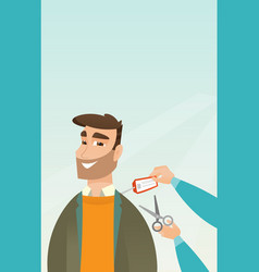 Caucasian man cutting price tag off new jacket vector