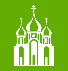 church building icon green vector image