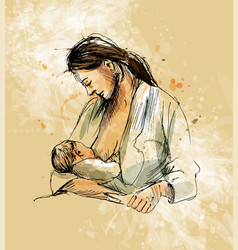 Colored hand sketch mother nursing baby vector