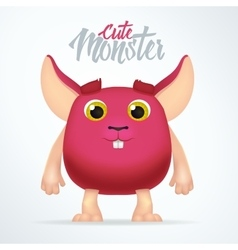 Cute magenta monster rabbit with big ears fun vector