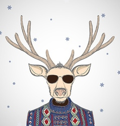 Deer in sweater vector image
