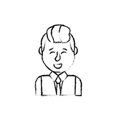 Figure cute man with hairstyle design and shirt vector