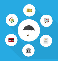 Flat icon incoming set of parasol cash vector
