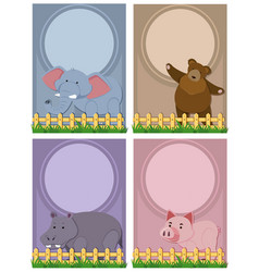 four background template with cute animals vector image