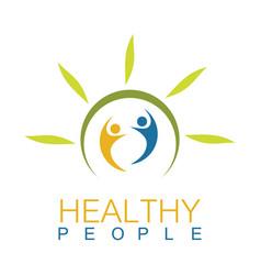 green health people logo vector image